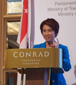 Parliamentary Secretary for the Ministry of Trade and Industry and Ministry of Education Low Yen Ling delivering the inaugural address.