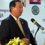 Cambodian Ministry of Industries and Handicrafts Senior Minister Dr. Cham Prasidh addressing the inaugural session of the Workshop on the Development of Productive Rural Communities through Social Enterprises.